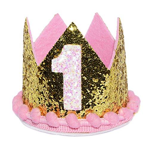 Maticr Glitter First 1st Birthday Crown Princess Tiara Headband for Baby Girl Birthday Cake (Best Girl Outfits)