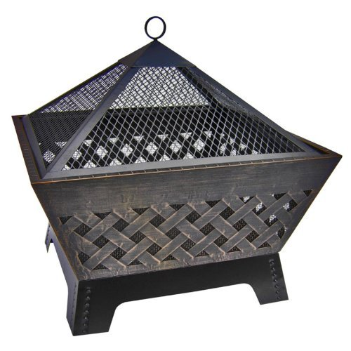 Premium Patio Fire Pit Outdoor Grill Landmann Wood Burning Grate for Backyard Cooking in Modern Rectangle Small (Pagoda Fire Pit)