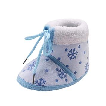 b055b1af25591 ZHRUI Bambin Nouveau-né noël bébé Neige Imprimer Bottes Semelle Souple  Chaussures Chaudes Prewalker (