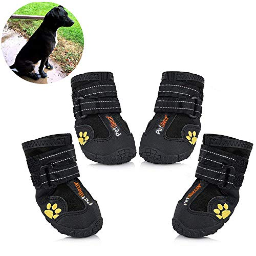 Skid Boots Dog (Petilleur Waterproof Dog Shoes Breathable Paws Protector Anti-Skid Dog Boots with Reflective Strap Pet Winter Warm Snow Boots for Small, Medium and Large Dogs (#3))