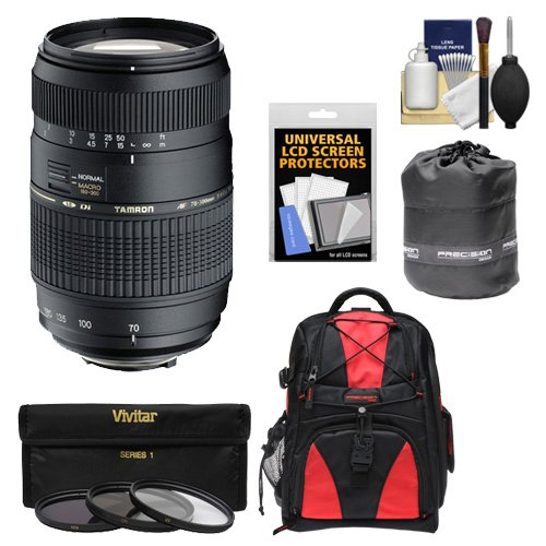 Tamron 70-300mm f/4-5.6 Di LD Macro 1:2 Zoom Lens with 3 UV/CPL/ND8 Filters + Backpack + Pouch + Accessory Kit for Sony Alpha DSLR SLT-A37, A57, A58, A65, A77, A99 Digital SLR Cameras
