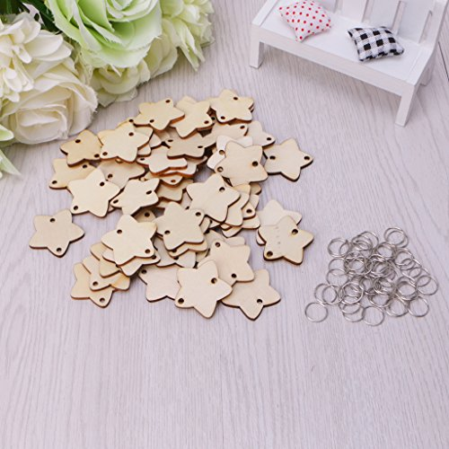 Metal Tags Embellishments - Simdoc 50Pcs Wooden Star Board Tags with 50 Pcs Metal Ring,Unfinished Wooden Star Cutout Embellishments with 2 Holes for DIY Birthday Board Calendar Craft Party Xmas Ornaments
