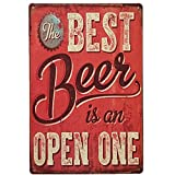 M-Mount Best Beer Tin Sign Vintage Metal Wall Plaque Poster Cafe Bar Pub Club Home Decor Cuba Drink Retro Style Ornament Coffee Gift Size 8 X 12