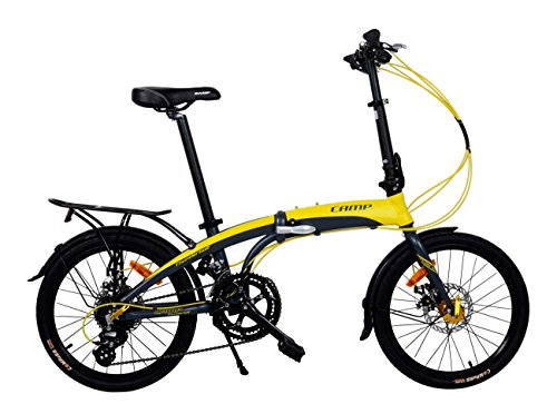 Camp Adult Folding Bike for Men Women 20 inch Aluminum 16 Speed Shimano Gears Disc Brake with Magnets Thunderbolt