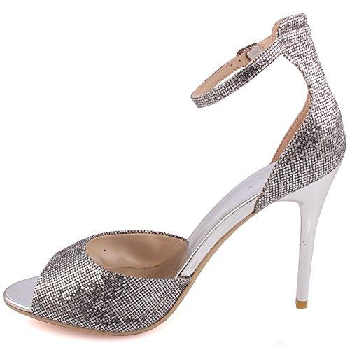 """Unze Las mujeres """"Caroline"""" Glitter Tobillo bajo medio alto talón parte Prom llegar juntos una noche de Carnaval sandalias de tacón UK tamaño 3-8 Plateado"""