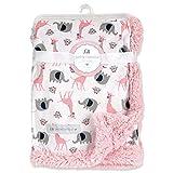 Petite L' amour safari animal baby blanket - pink