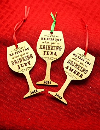 Personalized Christmas Ornament- He Sees You When You're Drinking - - Sunglasses Timeline History
