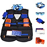 BrainWaves Tactical Vest Kit for Nerf N-Strike Elite Series with 20 Refill Darts (10 Glow in the Dark), 2 Reload Clips, Wrist Ammo Holder, Safety Glasses, and Tube Mask