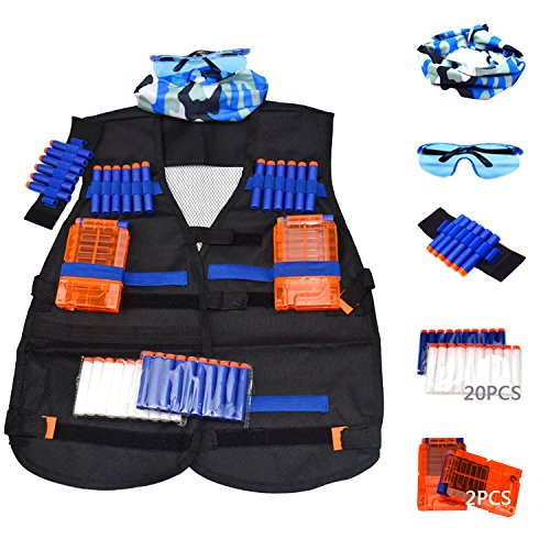 BrainWaves Tactical Vest Kit for Nerf N-Strike Elite Series with 20 Refill Darts (10 Glow in the Dark), 2 Reload Clips, Wrist Ammo Holder, Safety Glasses, and Tube Mask by BrainWaves