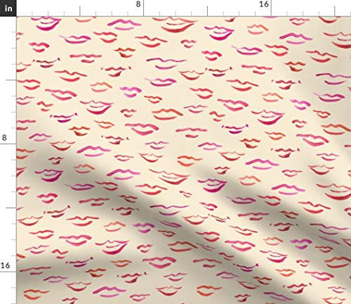 Spoonflower Painted Kisses Fabric - Kissy Lips On Sand Watercolor Lipstick Decor Lip Modern Home Fashion Love Mod Print on Fabric by The Yard - Velvet for Upholstery Home Decor Bottomweight Apparel
