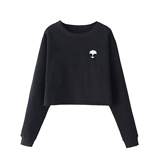 bdeefd622dc110 Image Unavailable. Image not available for. Color  Women s Cute Alien Long  Sleeve Pullover Sweatshirt ...