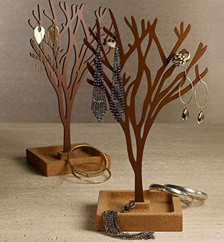 Do4U Jewelry Tree Stand wooden Jewelry Organizer Holder Display for Earrings, Bracelets, Necklaces-(Saddlebrown)