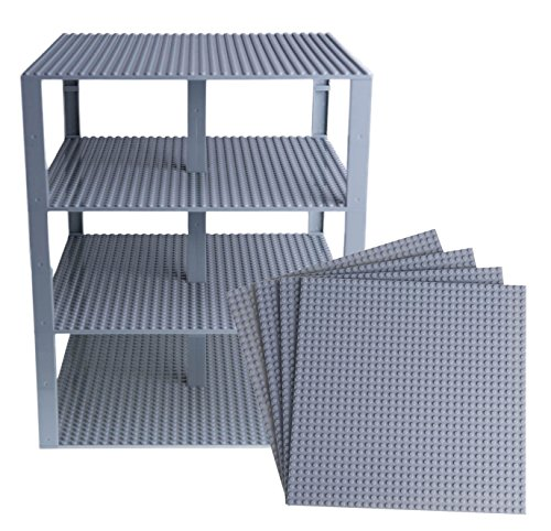 "Free Premium Light Gray Stackable Base Plates - 4 Pack 10"" x 10"" Baseplate Bundle with 30 Gray New and Improved Stackers - Compatible with All Major Brands - Tower Construction"