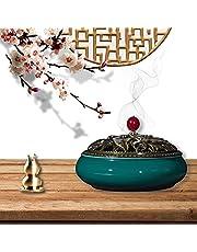 Ceramic Incense Burner,Porcelain Incense Holder Burner,with Brass Calabash Incense Stick Holder Porcelain Charcoal Censer Copper Alloy Cover Cone Coil Smoke Censer (Dark Green)