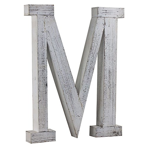 Wood Letter M Vintage Style Whitewashed Rustic Distressed Wooden Decorative Monogram Wall Hanging or Free Standing Cutout Initial Letter Block for Nursery Living Room Baby and Bedroom Decor LARGE 20