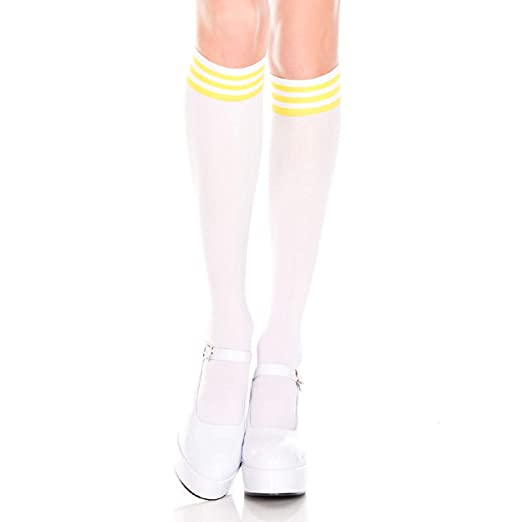 424e26c141243a Image Unavailable. Image not available for. Color: Music Legs 5736-WHITE-YELLOW  Striped ...