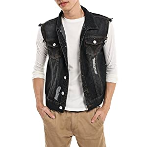 Men's Sleeveless Denim Vest Casual Slim Fit Lapel Jeans Vests Jacket