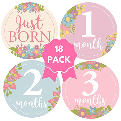 Pretty Baby Milestone Stickers - 18 Pack Baby Monthly Stickers for Girls - Photograph Your Little Girl with Pretty Feminine Blooming Flowers