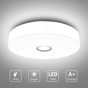 Onforu 18W LED Lámpara de Techo Baño, IP65 Impermeable LED Plafón ...