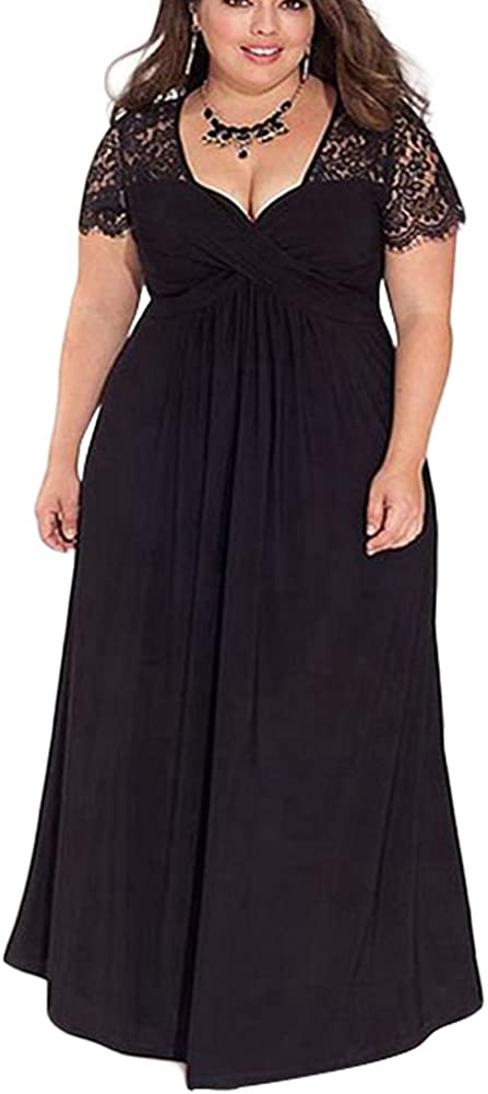 TALLA (EU46-48)XL. Lover-Beauty Vestido Largo Mujer Talla Grande Moda Bolsillo Top Falda para Fiesta Verano Manga Corta Floral Estampada Suleto Moda de Ropa Elegante Maxi Negro (EU46-48)XL