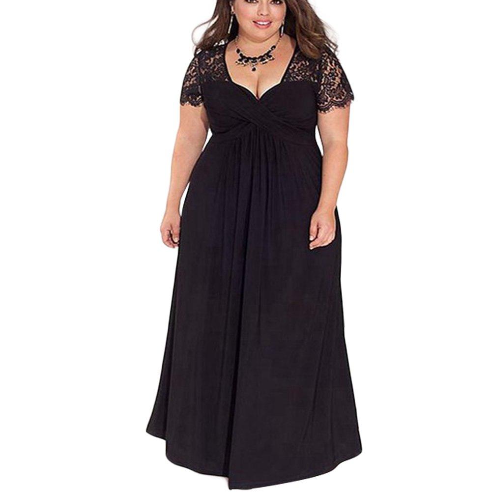 TALLA (EU50-52)2XL. Lover-Beauty Vestido Largo Mujer Talla Grande Moda Bolsillo Top Falda para Fiesta Verano Manga Corta Floral Estampada Suleto Moda de Ropa Elegante Maxi Negro (EU50-52)2XL
