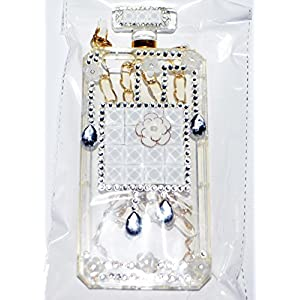 Metal-Elite Clear Crystal Case for iPhone 6/6s (4.7 in.) Cute White Flowers and Stylish Crystals with Chain High Quality Elegant Design Perfume Bottle Shaped in Package Candy Skin Cover TESTED