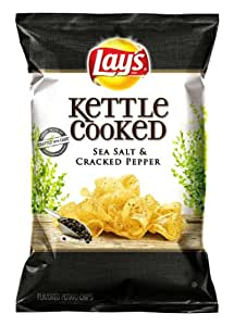 Lay's Kettle Cooked Potato Chips, Sea Salt and Cracked Pepper, 8.5 Ounce (Pack of 4)