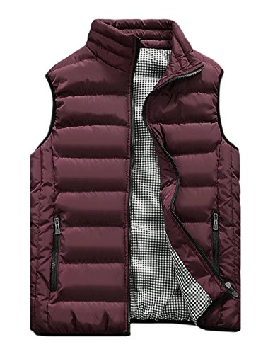Vcansion Men's Outdoor Casual Stand Collar Padded Vest Lightweight Down Cotton Jacket Coat Vest Wine Red XL