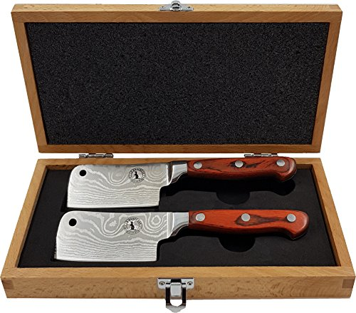 - Mini Steak Cleaver Set in Presentation Box by La Mongoose. 2 x Full Tang Stainless Steel Meat Knives, Sharp Straight Edge Blades, Ergonomic Wood Handles Beech Wood Box. Ideal Gift for Dinner Party/BBQ