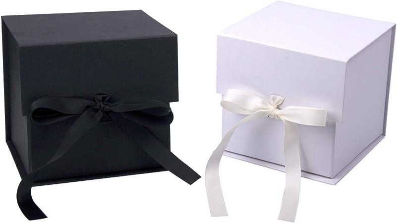 RUSPEPA Caja De Regalo Blanca Y Negra De 2 Piezas con Cinta De Grosgrain, Caja De Regalo Plegable De 15.3X15.3X15.3 CM con Cierre Magnético para Taza De Café,Fiesta,Envoltura De Regalo,Almacenamiento: Amazon.es: Hogar