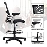 Best Drafting Chairs - Mid-Back Mesh Drafting Chair Tall Office Chair Swivel Review