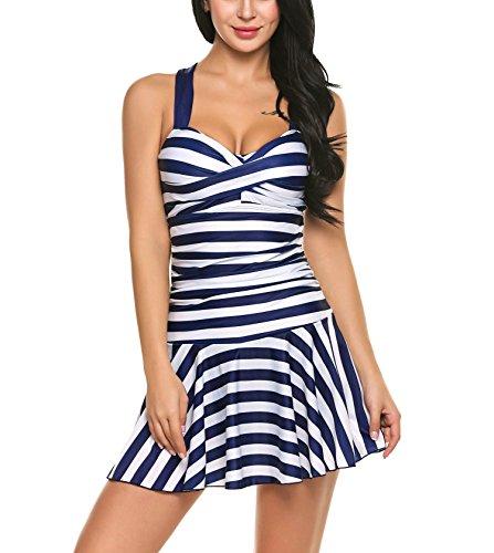 Striped Navy Dress Suit (SloMes Women's Sexy One Piece Swimwear Bathing Suit Slim Padded Striped Beach Swimsuit Dress, Navy Blue, XX-Large)