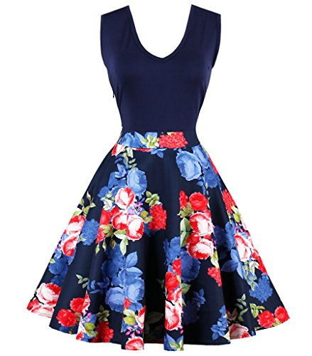 Floral Mini Floral Sleeveless Dress Contrast Sexy Casual Party Aecibzo Flare Blue Women's w8xqIUg4
