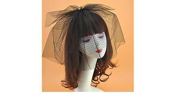 Womens Bridal Wedding Fascinator Veil Hat Two Layers Fishnet Mesh Hair Clips
