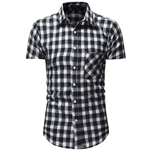 Men Plaid Shirt, JOYFEEL  Summer Casual Slim Fit Blouse Spread Collar Short Sleeve Button Down Fashion T-Shirt Top ()