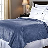 Sunbeam Luxurious Velvet Plush KING Heated Blanket with 20 Heat Settings, Auto-off, 2-Digital Controllers, 5 Yr Warranty (Dusty Blue)