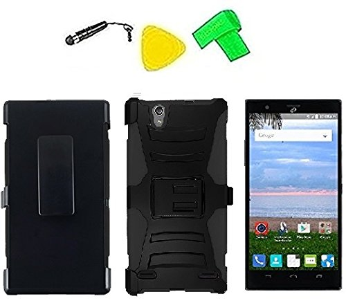 Belt Clip Holster w Heavy Duty Armor Hybrid Phone Cover Case Cell Phone Accessory + LCD Screen Protector Guard + Extreme Band + Stylus Pen + Yellow Pry Tool For -