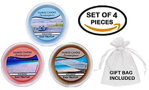 Yankee Candle Summer Favorites MeltCups -- Beach Walk + Pink Sands + Sun and Sand -- Set of 3 Easy Meltcups Scenterpiece Wax Warmer System Refills with one Sheer White Organza Gift Bag