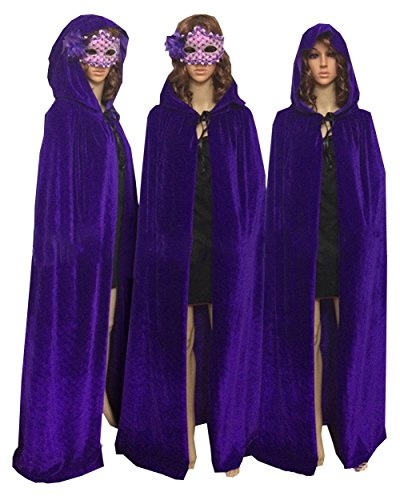 MorySong Full Length Velvet Hooded Cape Costume Halloween Party Accessory L Purple (Adult Purple Hooded Robe Costume)