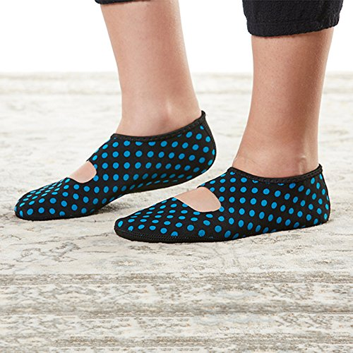 Nufoot Janes Large Black Women's Yoga amp; Mary House blue Dots Socks Dance Slippers Polka Travel Flats Indoor Best Slippers Foldable Shoes Slipper Exercise Flexible r5prg
