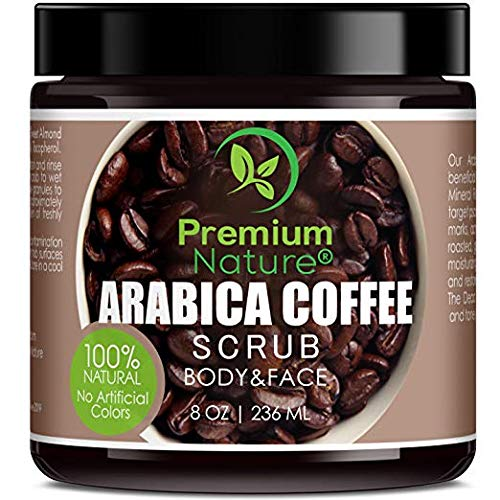 Exfoliating Arabica Coffee Body Scrub - Best Skin Exfoliator for Face Hand Lip & Body with Sea Salt & Shea Butter, Acne & Eczema Treatment, Exfoliate Moisturize, Stretch Mark Scar & Cellulite Remover Premium Nature