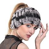 Rabbit Fur Headband - Winter Knit Neck Warmer Real Fur Headbands Women Scarf Muffler