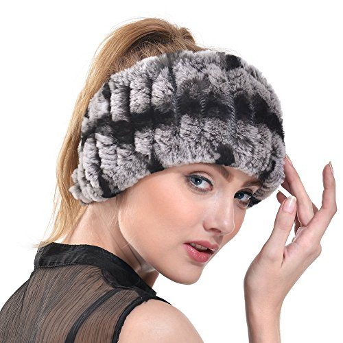 Rabbit Fur Headband - Winter Knit Neck Warmer Real Fur Headbands Women Scarf Muffler (Chinchilla),One ()