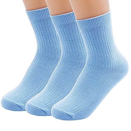 Light Sock Blue - Women's Cotton Single Needle Casual Socks Comfortable Crew Socks (Light Blue)
