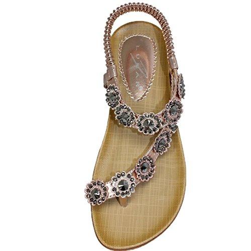 mit Damen FANTASIA Schnallenschuhe Blumenmuster Damen ® Roségold Komfortable Diamante Sommer Sandalen Casual BOUTIQUE wXpOZpqR