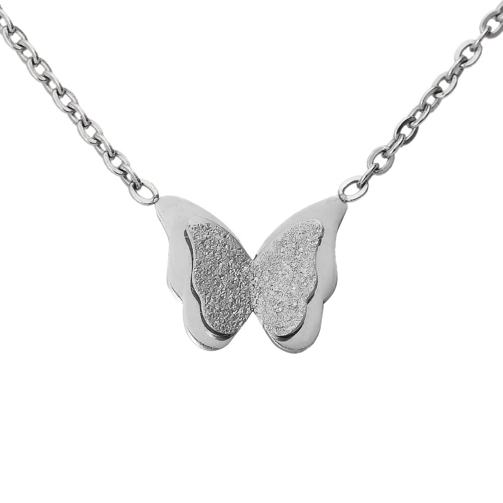 Women Butterfly Chain Necklace. Tiny Silver Tone Stainless Steel Gift Boxed Rebirth Charm Pendant Jewelry