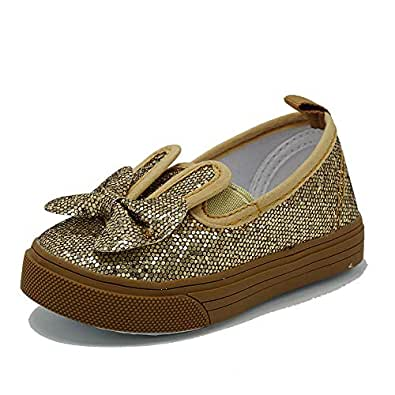 Girl's Flat Sneaker Kids Slip On Glitter Casual Oxford Outdoor Shoes Gold Size: 3