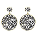 Gold and Black Plated Sterling Silver Dangle Cubic Zirconia Double Disc Earrings
