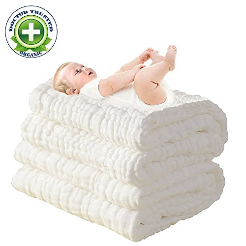 100% Medical Cotton Grade Natural Antibacterial,Water Absorbent,Super Soft Cotton Gauze,suitable for baby's delicate skin,Newborn Muslin Cotton Warm Baby Bath Towels Also for Baby Blanket -1 pcs ()