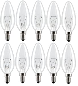 10 Pack 60W B35 SES E14 Classic Clear Candle Light Bulbs, Small Screw,  Incandescent Dimmable Lamps, 660 Lumen, Mains